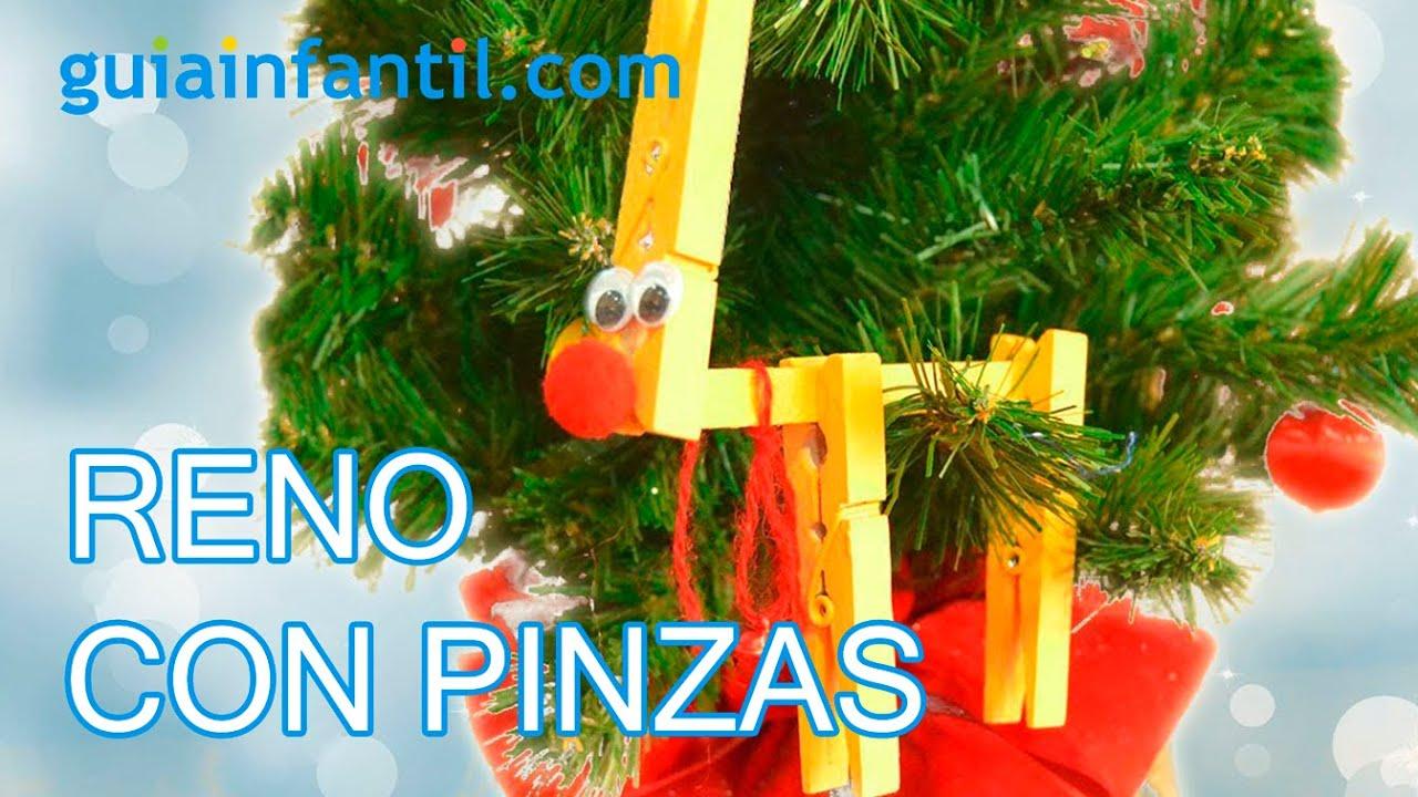 Reno manualidades navide as con pinzas para ni os youtube for Manualidades navidenas para ninos