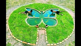 Build a pond with a butterfly shape to feed the fish
