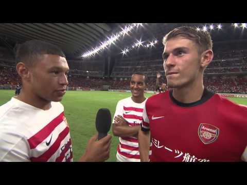 FUNNY - Ox hijacks interview with Aaron Ramsey - Arsenal Tour 2013