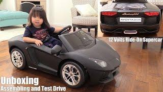 12 Volts Ride-On Car. RC Lamborghini Aventador in Matt Black Unboxing, Assembling & Playtime