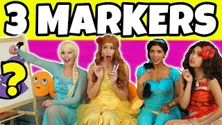 3 MARKER CHALLENGE (We Play Disney Princesses) Totally TV
