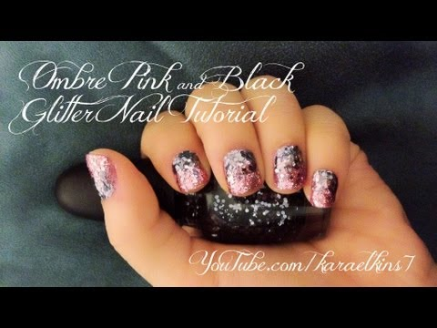Ombre Pink & Black Glitter Nail Tutorial | How To Make & Do Everything ...