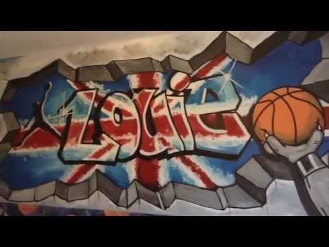 graffit style bulldog basketball mural by drews wonder walls !!!