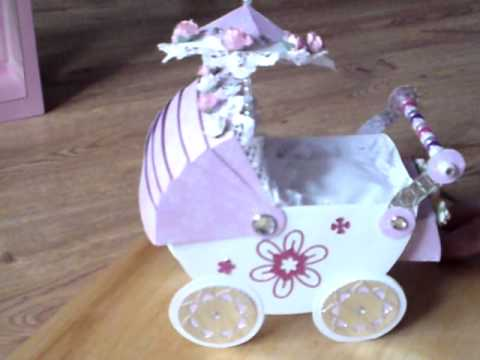 Handmade Card Beautiful 3d Baby Pram Complete With Pillow