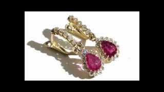 Estate Natural Pigeon Blood Red Ruby Diamond 14k Yellow Gold Dangle Earrings