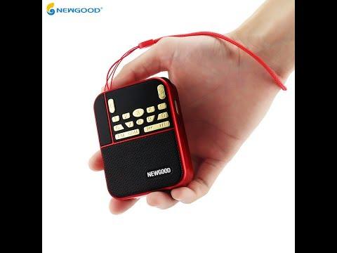 NEWGOOD brand mini portable colorful flashlight radio speaker with mp3 USB disk SD Card player N 500