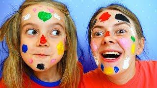 Learn Colors Face Painting Finger Family Song for Kids, Children