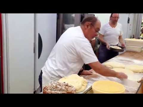 Making sweet pastries at Strasbourg's Christmas Market in France