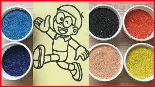 Đồ chơi trẻ em TÔ MÀU TRANH CÁT NÔBBITA (chị Chim Xinh) Coloring Nobita & Đoremon, Sand Painting