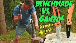 Benchmade Axis Lock vs Ganzo Axis Lock Endurance test with Batoning