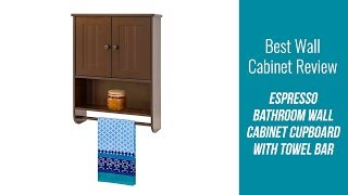 Wall Cabinet Review - Espresso Bathroom Wall Cabinet Cupboard with Towel Bar