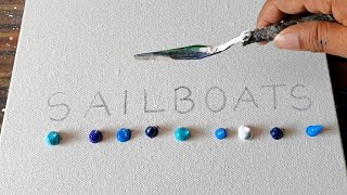 SAILBOATS / Abstract Painting Demo / Easy for beginners / Relaxing / Daily Art Therapy / Day #0171