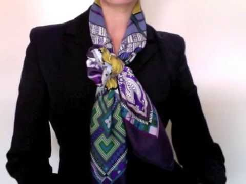 how to wear scarves hermes scarf in a criss cross bow knot youtube. Black Bedroom Furniture Sets. Home Design Ideas