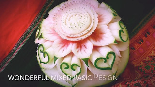 Wonderful mixed basic design in Watermelon Carving | by chef NAMTARN