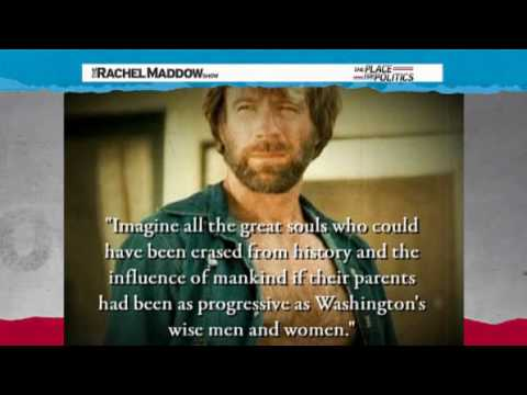 Rachel Maddow-Chuck Norris reforms health care... with a closed fist!