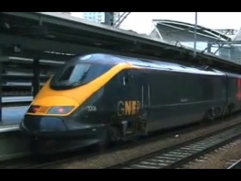 UK: Eurostar Class 373 trains at Leeds on GNER 'White Rose' services to London Kings Cross. Two clips recorded on 12th November 2005. Clip 1 - The 1105 to London (Kings Cross) departs from...