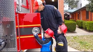 Kids Fire Engine and Fire Station Tour - Fire Truck Videos for Children