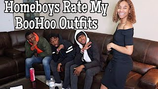 My Homeboys Rate My BooHoo Outfits || Gabrielle Morris