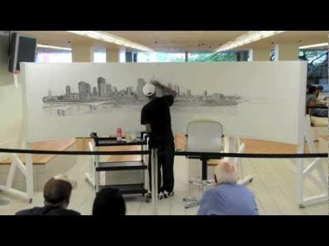 Stephen Wiltshire draws Brisbane