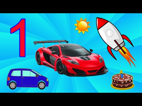 Красный Гоночный Автомобиль Вихрь учит цифры.  Цифра 1. Развивающий мультик для самых маленьких