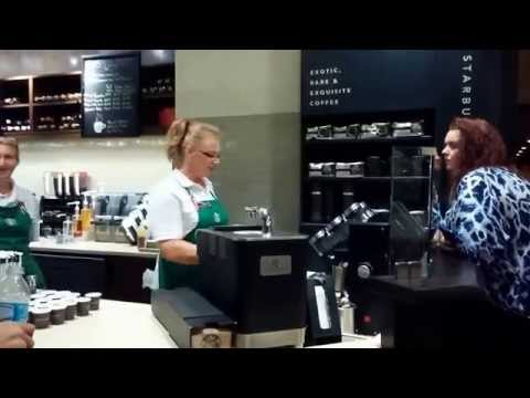 Barista at Starbucks Portofino Bay Hotel demonstrates Clover Coffee Brewing system