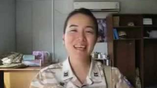 Korean Woman Soldier sings Kurdish