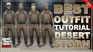 GTA 5 Online - Best Outfit Tutorial! DESERT STORM! Cool Combat Modded Clothing! GTA 5 Glitches!