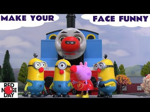 Thomas And Friends Peppa Pig Play Doh Funny Minions Toys Red Nose Day Make Your Face Funny video