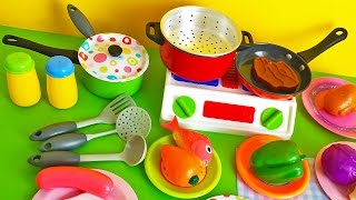 Soup cooking kitchen toy vegetables stove pots pans frying pan learn cooking colors shapes