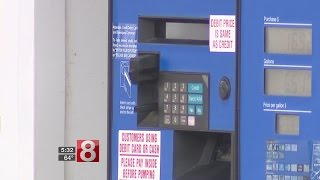Skimming device inside pump at Mobil Mart in Essex