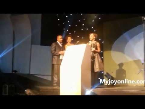 Akosua Adoma Owusu - receiving the Best Short Film award at the 2013 AMAAs