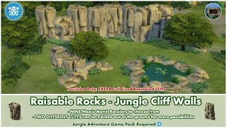 Bakies The Sims 4 Custom Content: Raisable Rocks - Jungle Cliff Walls + Bonus