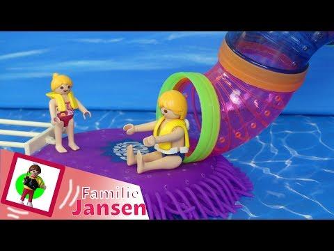 """Playmobil Film deutsch """"Mega Trampolin im Wasserpark """" Geschichte für Kinder von Familie Jansen"""