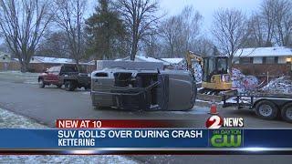 SUV rolls over during crash