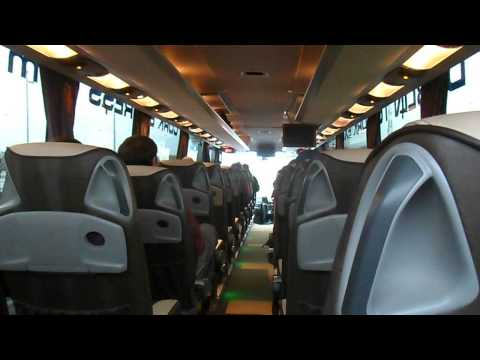 Aircoach Setra S416 GT HD trip to Cork from Dublin Airport. Here we are passing the airport coach park and the lane changes before reaching the port tunnel.