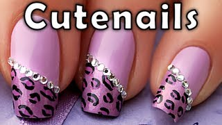 Purple leopard / cheetah nail art designs tutorial by Cute Nails