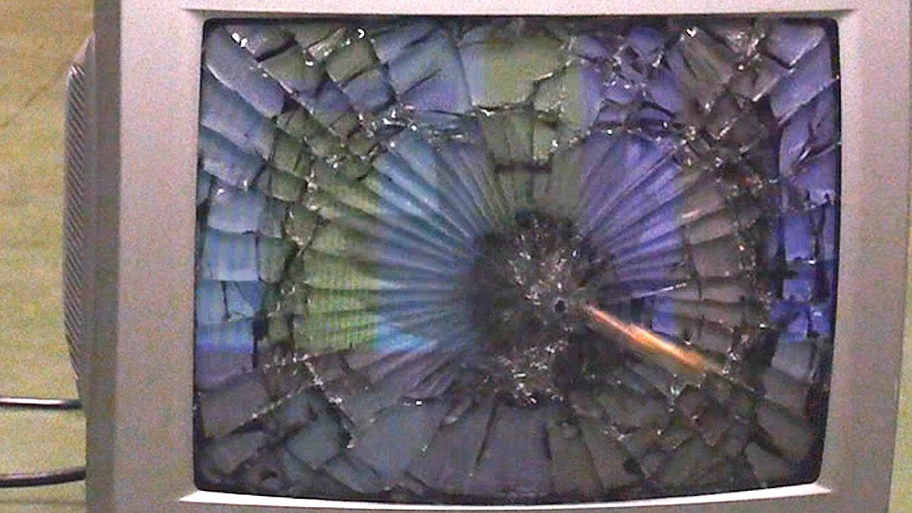 Tv Cracked By A Projectile Youtube