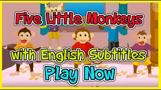 Five Little Monkeys with English Subtitles - Nursery Rhymes & Songs in HD