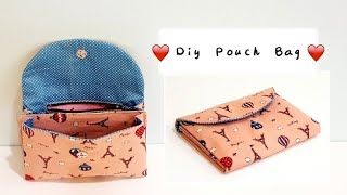 Diy pouch bag with zipper & layer | Free Template DOWNLOAD【用这种方法制作手握包比其他方法容易多了!】