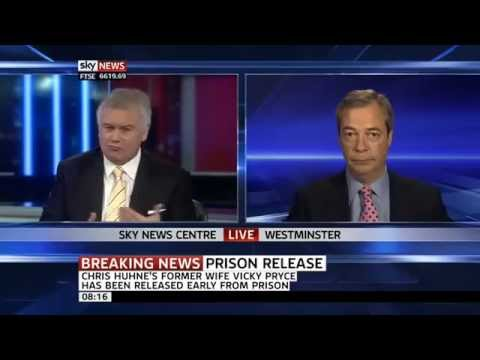 Nigel Farage on ex LibDem Chris Huhne early prison release May 2013