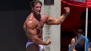 58 Year Old Bill McAleenan Bodybuilding Routine at Muscle Beach 7/4/16