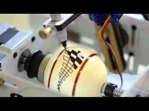 Eggbot Working on a PoolBilliard Ball (No sound)