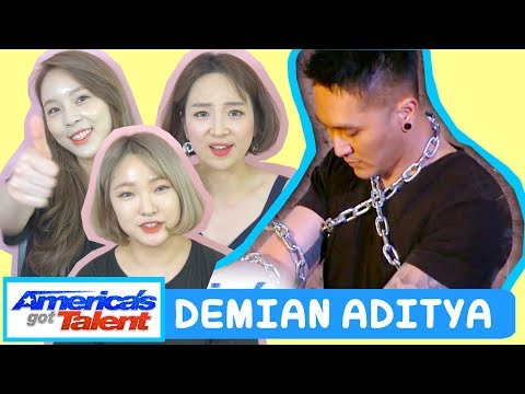 download lagu KOREANS REACTION TO DEMIAN ADITYA: Escape Artist Attempts Deadly Performance - America's Got Talent gratis