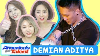 Download Lagu KOREANS REACTION TO DEMIAN ADITYA: Escape Artist Attempts Deadly Performance - America's Got Talent Gratis STAFABAND