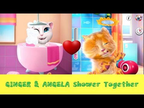 Talking Ginger and Angela - Shower Together - New Cat Cartoon - Compilation!