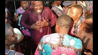 V Funny! Eniola Afeez Challenge Kunle Afod On The Dance Floor At His Mum's Birthday