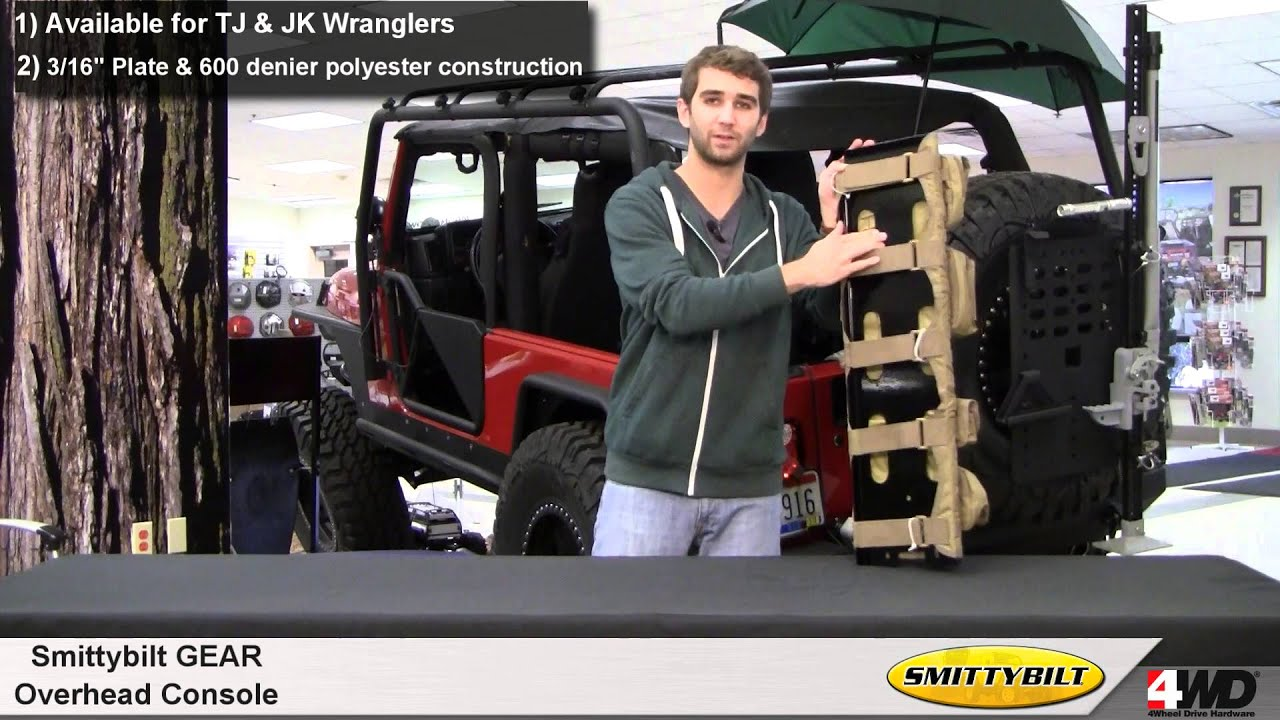 Jeep Wrangler Seat Covers >> Smittybilt GEAR Overhead Console for Jeep Wrangler - YouTube