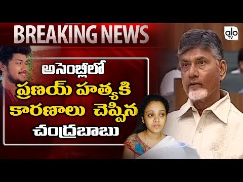 CM Chandrababu Emotional Speech About Miryalaguda Incident in Assembly | Pranay | Amrutha | Alo TV