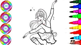 Coloring Drawing Art for Kids Disney Ballerina Coloring Videos for Kids, Toddlers
