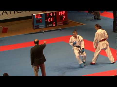2009 WKF Jr Worlds -21 Women -60 Kg Aka Montenegro vs Ao New...
